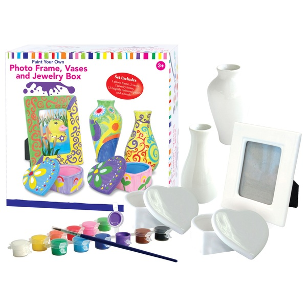 Paint Your Own Paint Photo Framevase And Jewellery Box Set