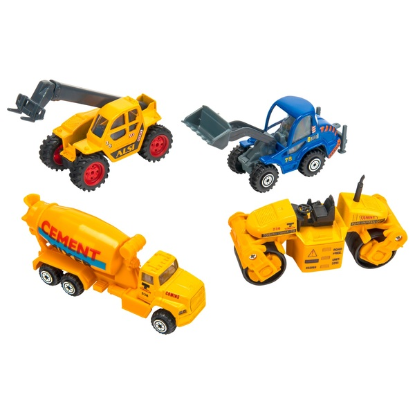 4 Pack Construction Truck Playset