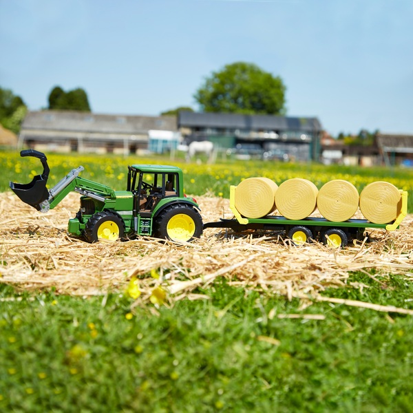 Bruder 1:16 John Deere 6920 Tractor Loader With Bale Trailer