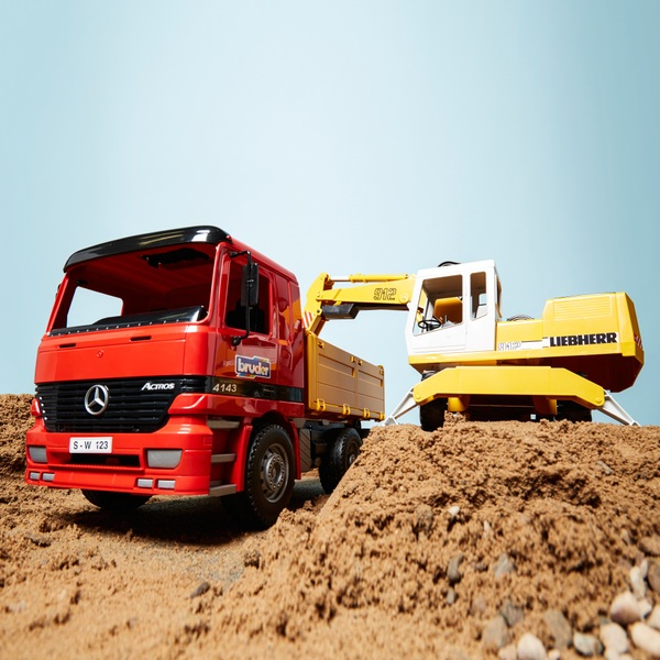 Bruder Mercedes Benz Actros Construction Truck and Liebherr Excavator