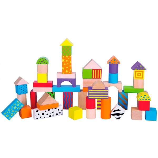 50 Piece Colourful Wooden Blocks Tub Wooden Toys