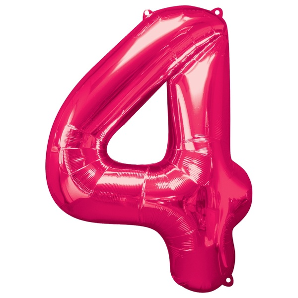 Super Shape Number 4 Pink Foil Balloon