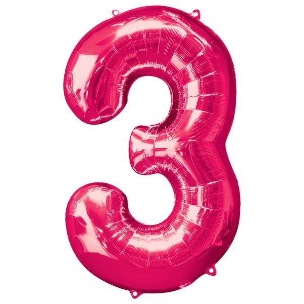 Super Shape Number 3 Pink Foil Balloon