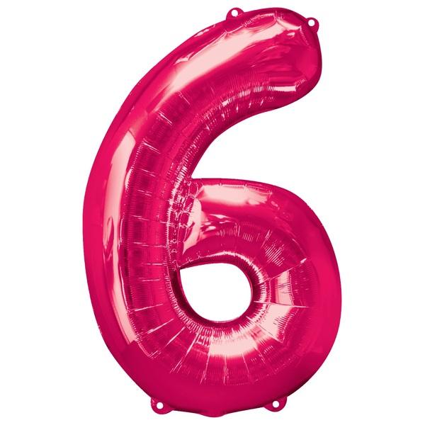 Super Shape Number 6 Pink Foil Balloon
