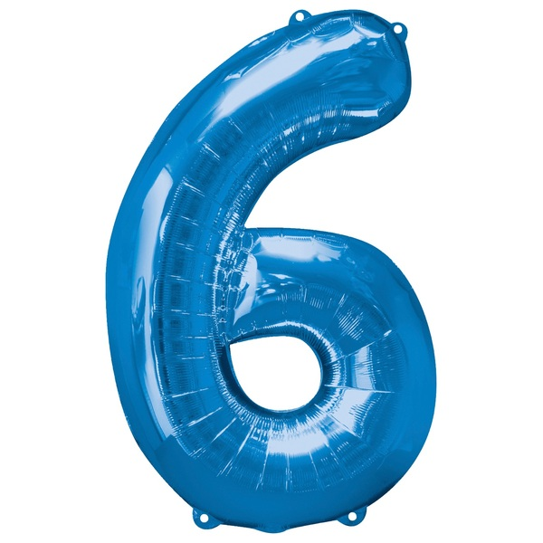 Super Shape Number 6 Blue Foil Balloon
