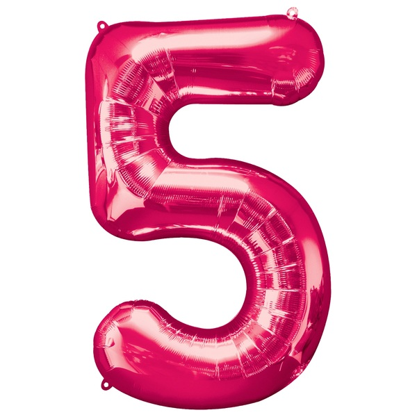 Super Shape Number 5 Pink Foil Balloon