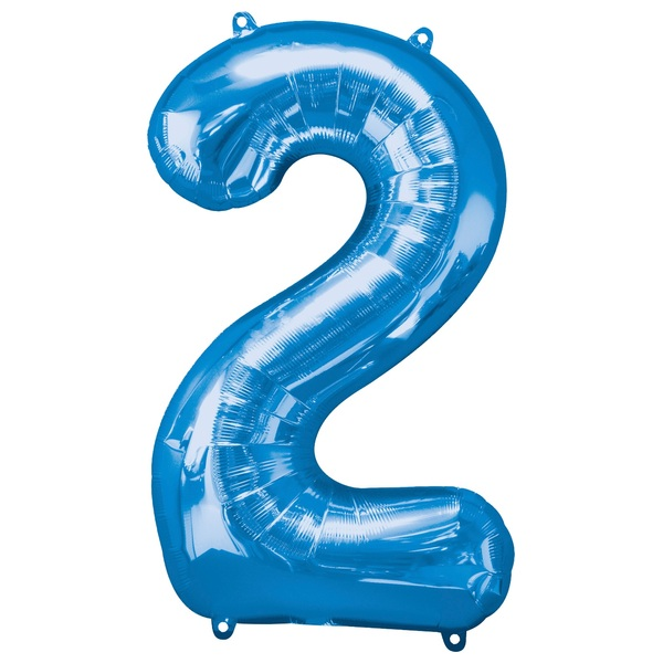 Super Shape Number 2 Blue Foil Balloon
