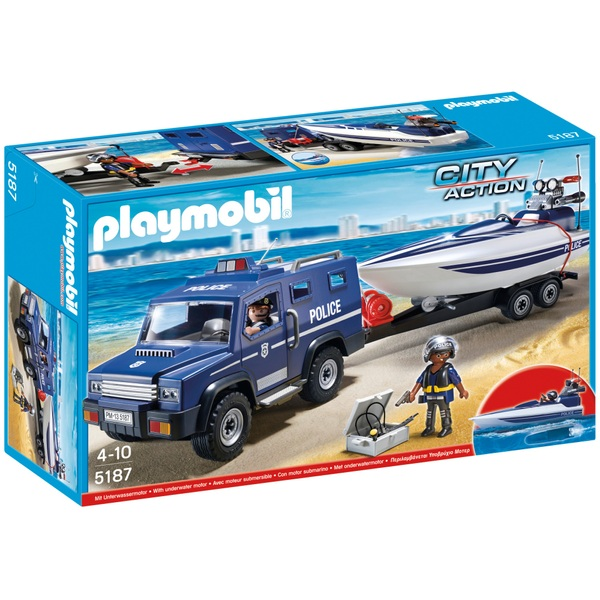Playmobil 5187 Police Truck with Speedboat