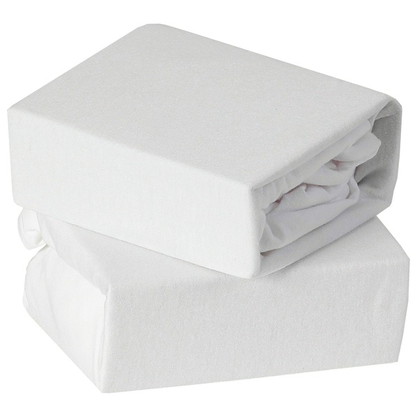 Baby Elegance Travel Cot Fitted Jersey Sheets 2 Pack White
