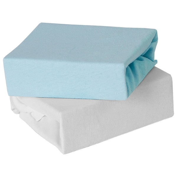 Baby Elegance Cot Fitted Jersey Sheets 2 Pack Blue