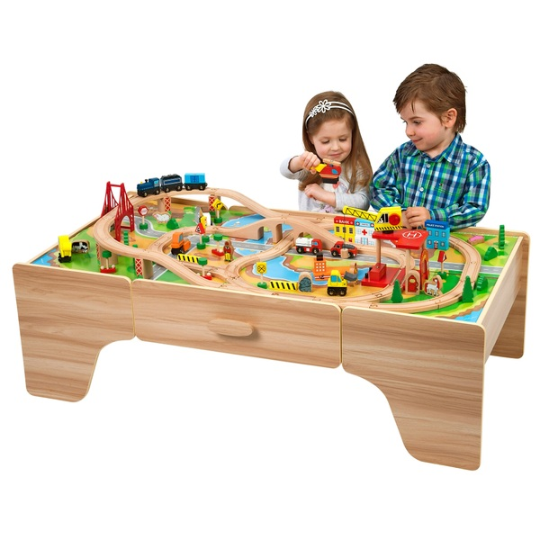 Train set table designer tables reference for 100 piece cityscape train set and wooden activity table