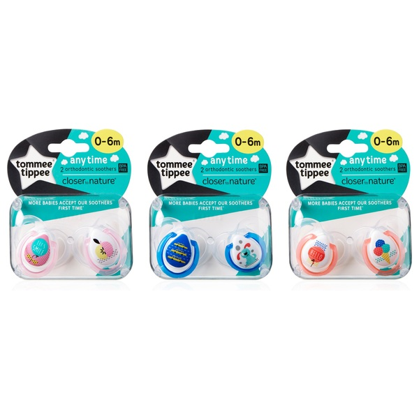 Tommee Tippee Closer To Nature Anytime Orthodontic Soothers 0 - 6 months Assortment