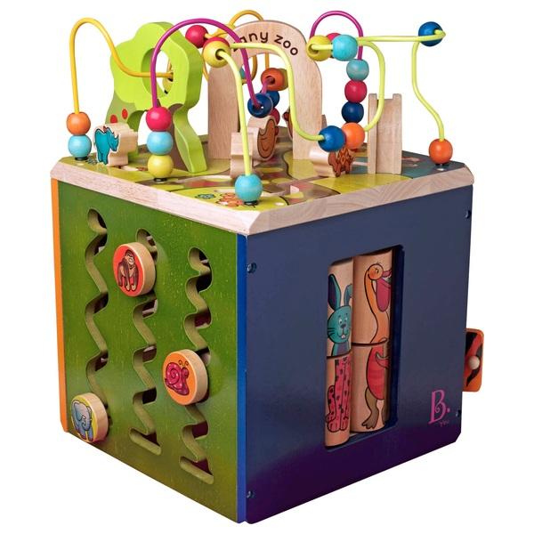 Fashion Style Brand New Kids B Zany Zoo Wooden Activity Cube Baby
