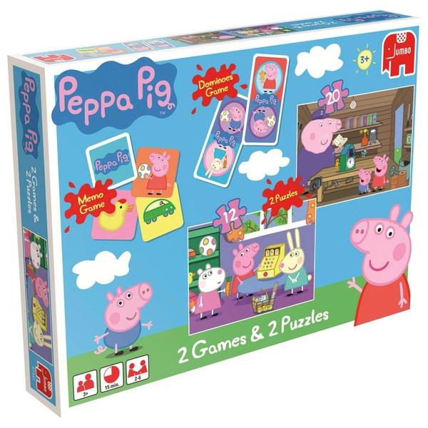 Peppa Pig 2 Games And 2 Puzzle Set Preschool Board Games Uk