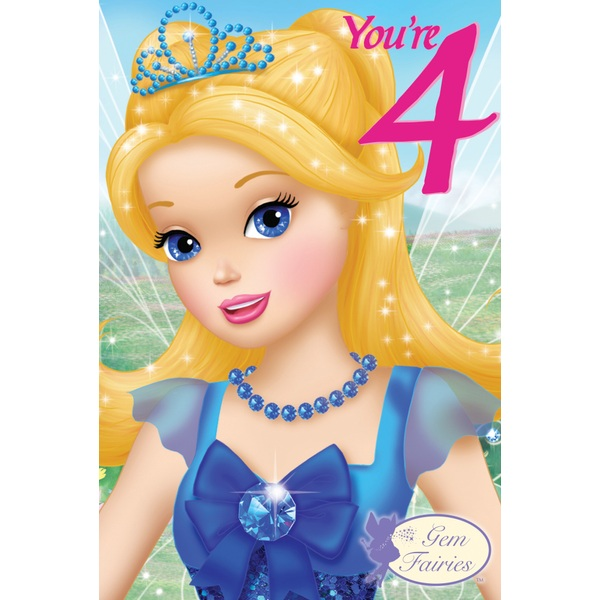 Gem Fairies 4th Birthday Card