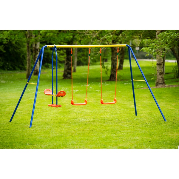 Double Swing See Saw Set Sturdy Garden Outdoor Patio