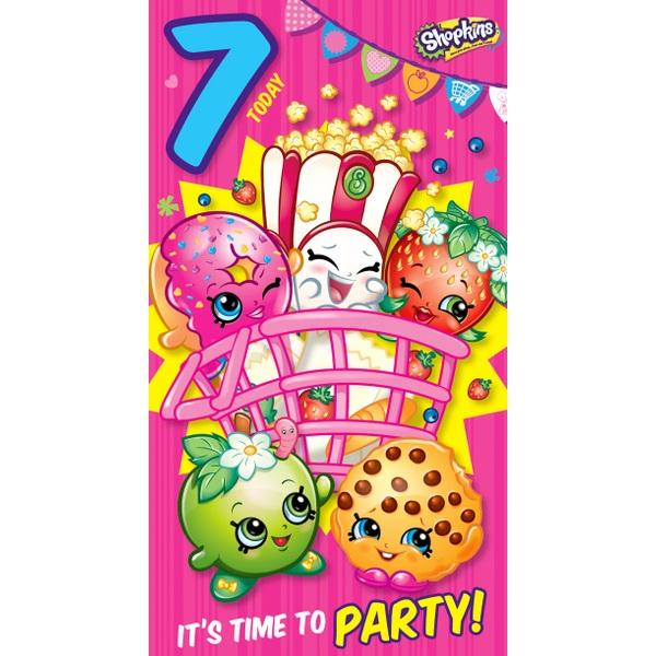 Shopkins Age 7 Birthday Card