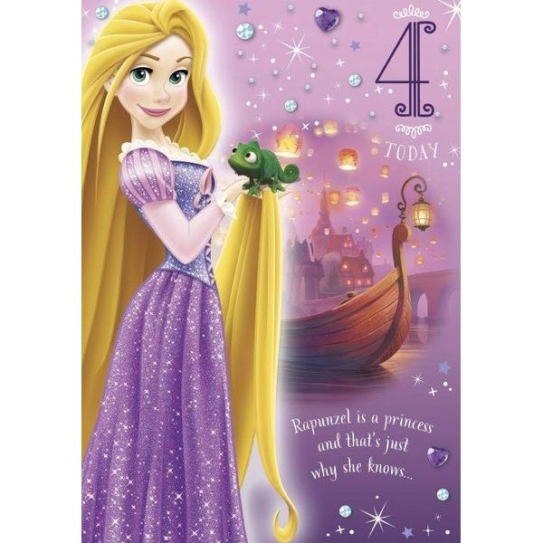 Kids 4th Birthday Card Disney Tangled