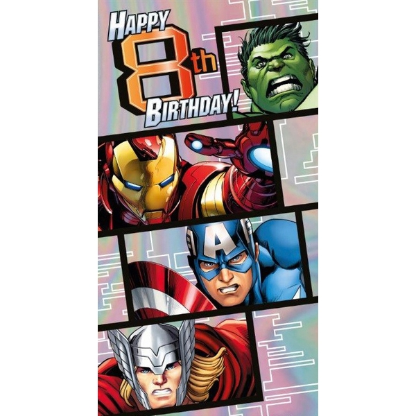 Marvel Avengers Age 8 Birthday Card