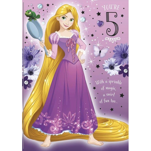 Disney Tangled Age 5 Birthday Card