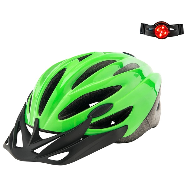 Green Helmet (Size 56-59cm) With Light