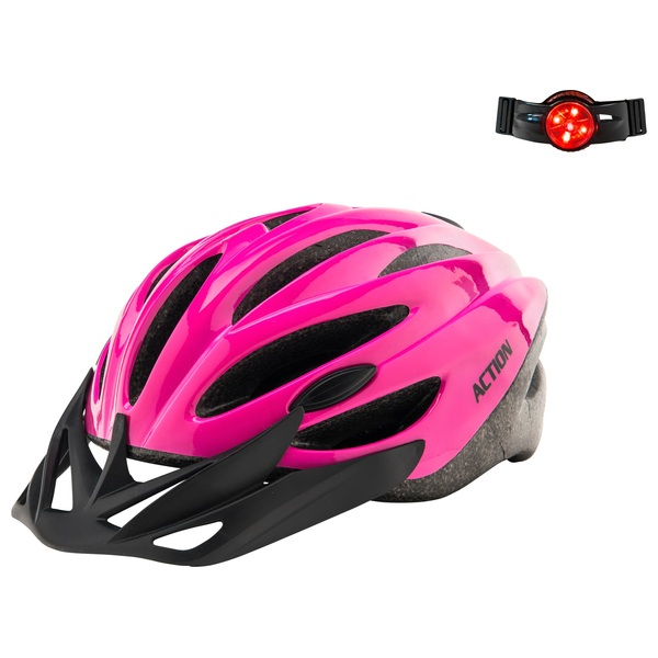 Pink Helmet (Size 52-56cm) With Light