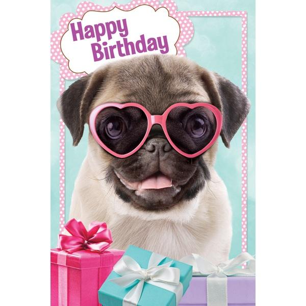 Pink Pug Birthday Card