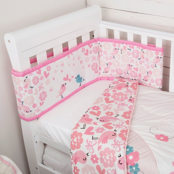 CuddleCo Comfi Dreams - 2 Piece Love Birds Quilt and Bumper Bedding Set