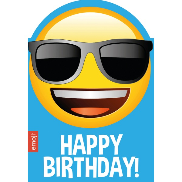 Happy Birthday Smiley Shades Emoji Age Card Partyware