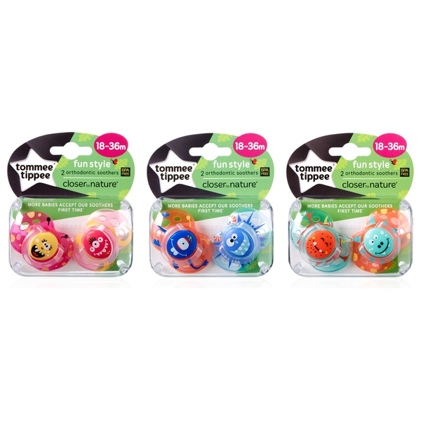 Tommee Tippee Closer To Nature Fun Style Orthodontic Soothers 18 - 36 months 2 Pack - Assortment