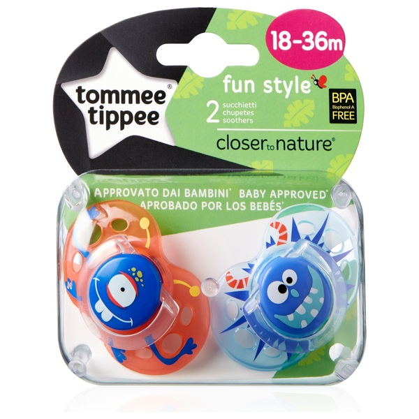 Fun Style Orthodontic Soothers from Tommee Tippee Fun design Age 18-36 bpa free hearts