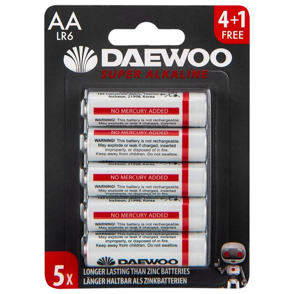 Daewoo AA Alkaline 5-Pack Batteries