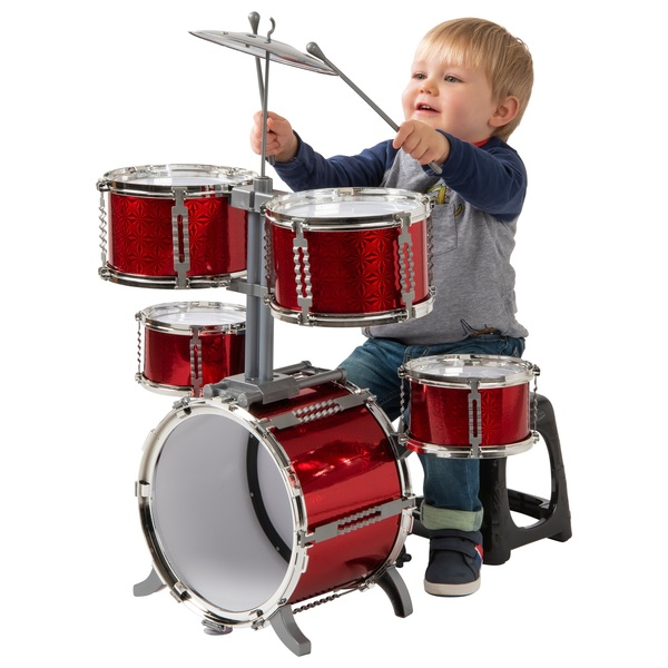 7 Piece Beginner Red Drum Kit