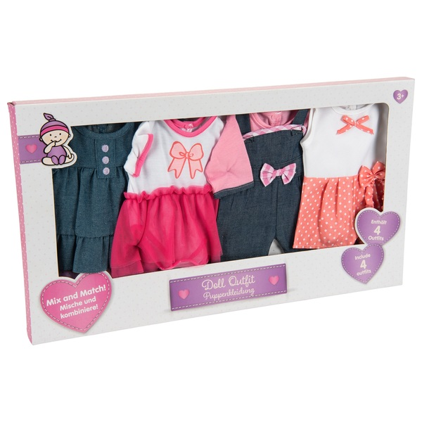 4 Pack Playtime Doll Outfits