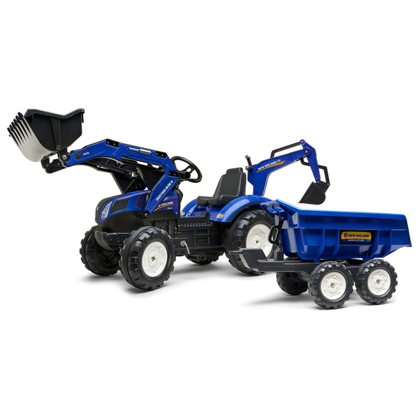 New Holland T8 Tractor with Front Loader, Backhoe and Trailer