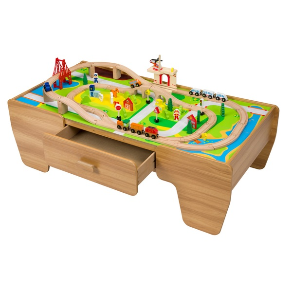 80 Piece Wooden Train Set With Table