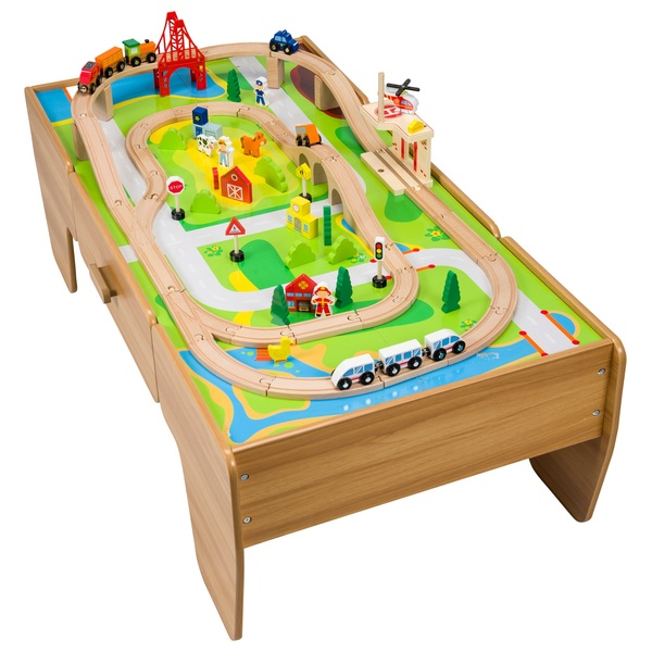 80 Piece Wooden Train Set with Table - Gift Finder 3-5 Years UK
