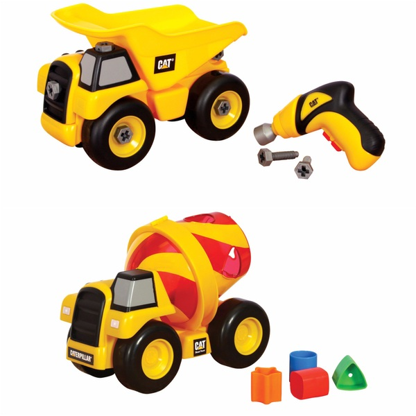 CAT Shape Sorter Cement Mixer and Take Apart Dump Truck with Drill 2-Pack