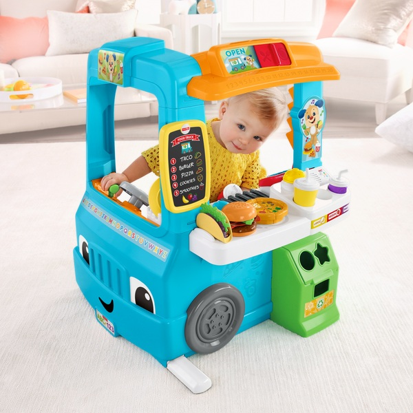 Fisher price laugh learn servin 39 up fun food truck for Kitchen set for 1 year old