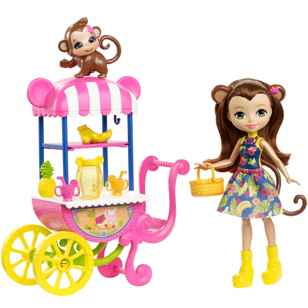 Enchantimals Merit Monkey Doll Fruit Cart Play Set