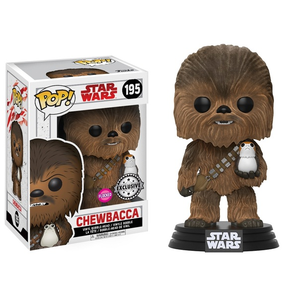 POP! Vinyl: Star Wars Ep VIII Flocked Chewbacca with Porg
