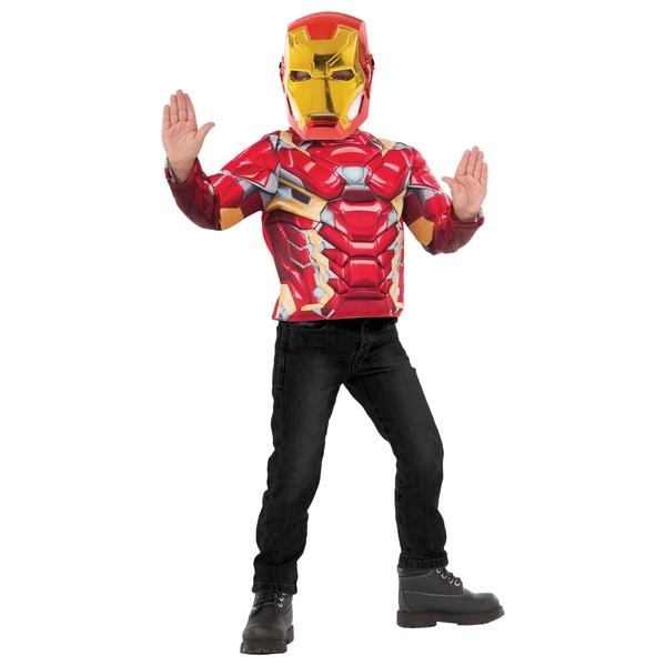 Marvel Iron Man Medium Costume Top Set with Metallic Mask