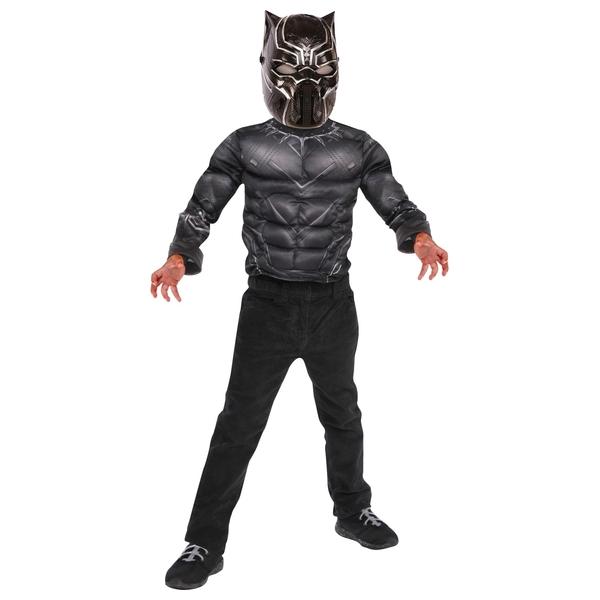 Marvel Black Panther Costume Top Set with Metallic Mask