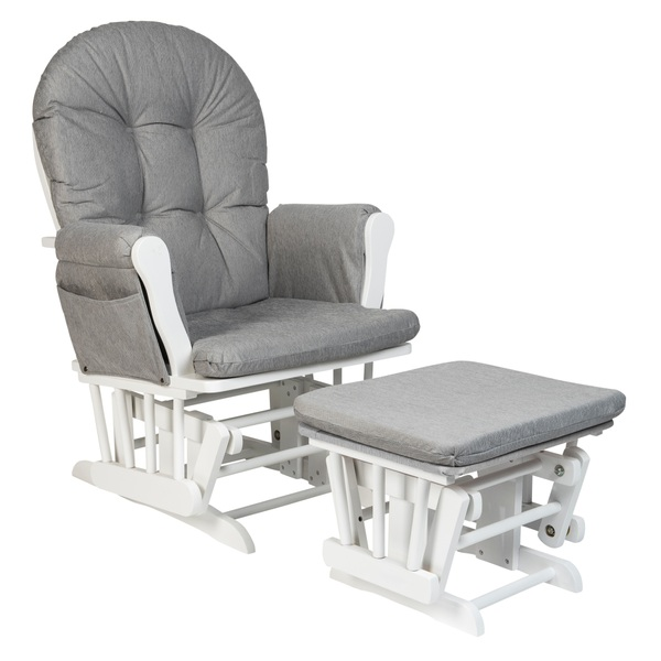 Babylo Milan Glider Chair And Footstool White Grey