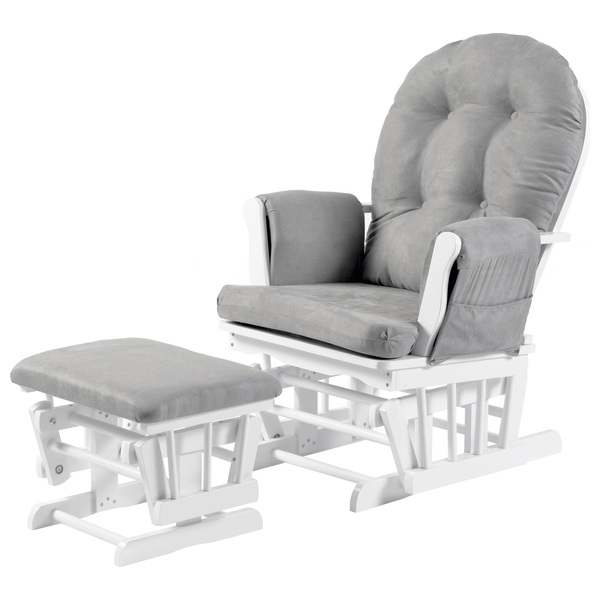 sports shoes b2137 9e407 Babylo Milan Glider Chair and Footstool - White/Grey - Nursing Chairs UK