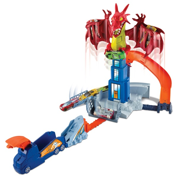 Hot Wheels Dragon Blast Play Set & 18 Cars