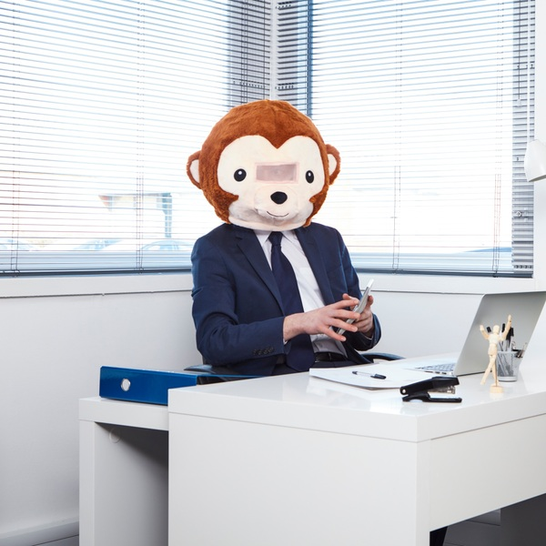 Plush Head Monkey Mask