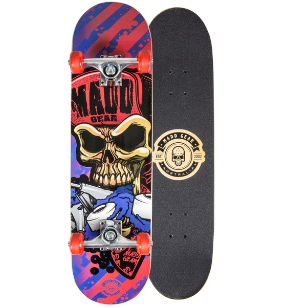 Madd Gear PRO Skateboard - Hatter Stripes - Blue / Orange
