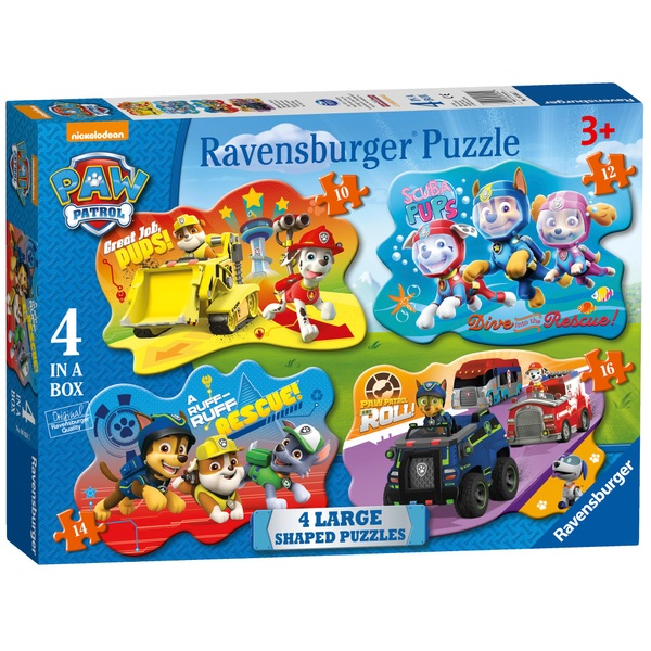 Ravensburger Paw Patrol 4 Shaped Jigsaw Puzzles (10,12,14,16 pieces)