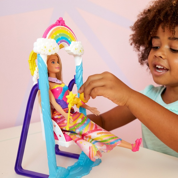 Barbie Dreamtopia Rainbow Swing Playset with Barbie Princess Doll, Puppy & Hidden Rainbow Comb